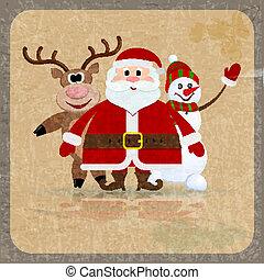 claus, bonhomme de neige, fond, renne, retro, santa
