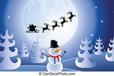 claus, bonhomme de neige, santa, arbres