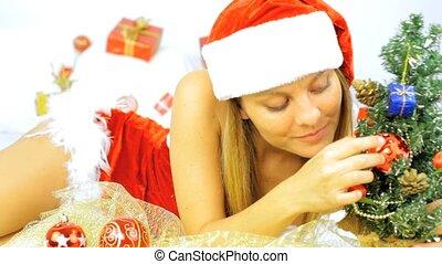 claus, boompje, kerstman, voorbereiden, kerstmis