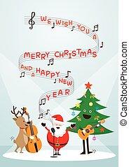 claus, canção, rena, boneco neve, santa, música, cante, tocando