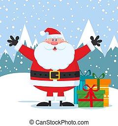 claus, carattere, braccia, giocondo, regali, scatole, santa, aperto, cartone animato, mascotte