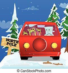 claus, carro., santa, dirigindo, vermelho