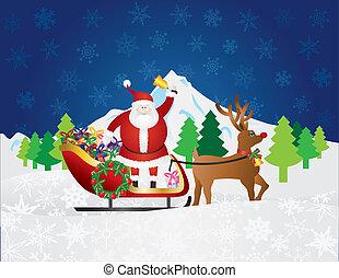claus, cena neve, presentes, rena, santa, noturna, sleigh