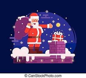 claus, chaminé, cena, santa, natal