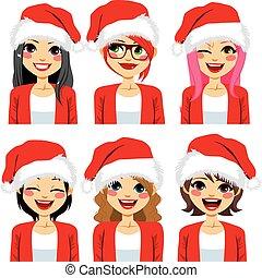 claus, chapeau, avatar, santa, femmes