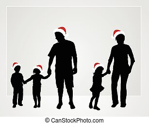 claus, chapeau, santa, famille, heureux