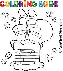 claus, coloração, chaminé, livro, santa