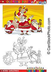 claus, coloração, grupo, caricatura, santa