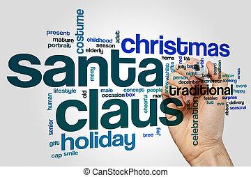 claus, concept, mot, santa, nuage