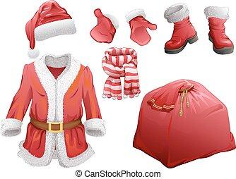claus, conjunto, accesorios, santa, navidad