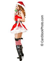 claus, desgastar, santa, roupas, natal, mulher, excitado