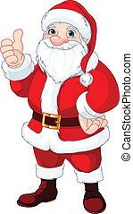 claus, duimen, kerstman, op