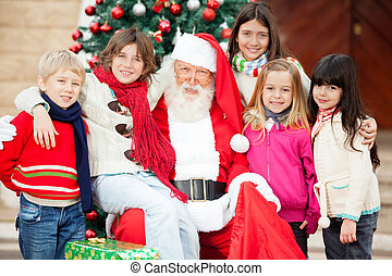 claus, dzieci, święty, szczęśliwy