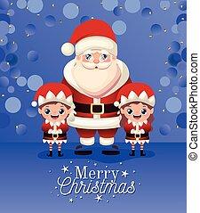 claus, elfs, alegre, letras, dos, santa, navidad