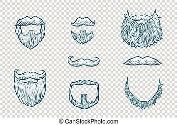 claus, ensemble, moustache, santa, barbe