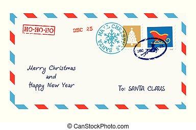 claus, envelope, letra, santa, natal