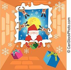 claus, envie, presentes, rena, 2, santa, noturna, natal