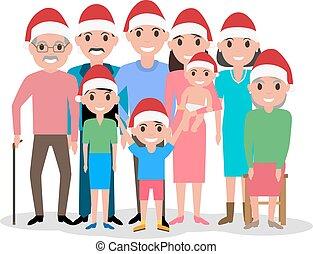 claus, famille, casquette, vecteur, santa, dessin animé, heureux
