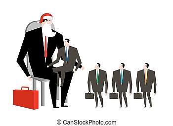 claus, faux, business, fête, bureau., complet, homme ...