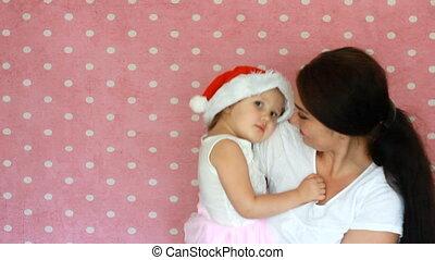 claus., fille, santa, mère, casquette, tenue, année, noël., nouveau