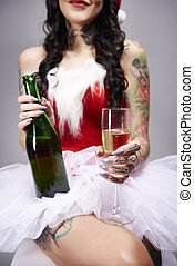 claus, flûte, bouteille, santa, champagne, tenue, sexy