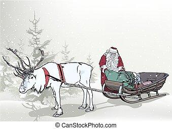 claus, fond, hiver, santa