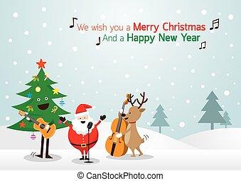 claus, fond, renne, bonhomme de neige, musique, santa, jouer