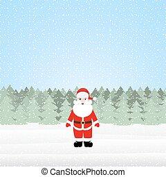 claus, forêt, santa, noël
