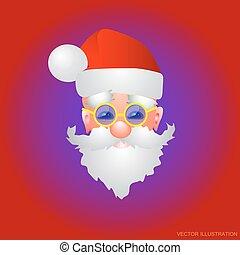 claus., fundo, vetorial, santa, feriado, natal, vermelho, illustration.