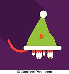 claus., gato, vector, santa sombrero, icono