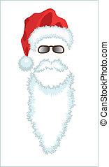 claus, glasses., chapeau, santa, rouges, barbe
