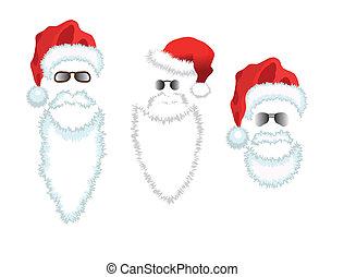 claus, glasses., hoedje, kerstman, rood, baard