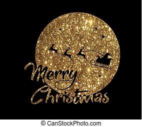 claus, gouden, woord, kerstman, poster, maan, rendier, ...