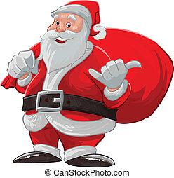 claus, hangen, kerstman, los