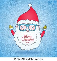 claus, hipster, kerstman, bril