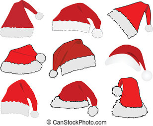 claus, hoedje, rood, kerstman
