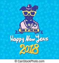 claus, illustration., 中国語, バックグラウンド。, 帽子, シンボル, モデル, 隔離された, 犬, calendar., ベクトル, 2018, santa, 年, 小さい, 白, smile., 幸せ