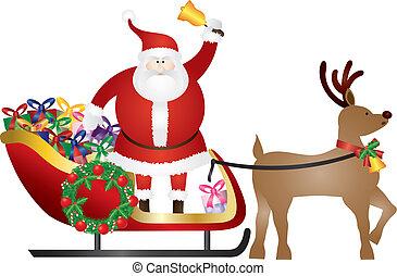 claus, ilustração, entregar, presentes, rena, santa, sleigh