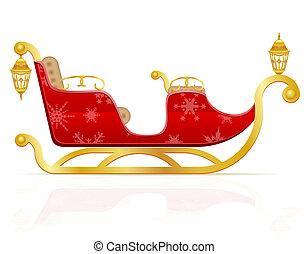 claus, ilustración, santa, sleigh, navidad, rojo