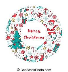 claus, inverno, elements., grinalda, árvore, tradicional, santa, feriado, natal