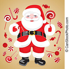 claus, jovial, santa, rouges, bonbons