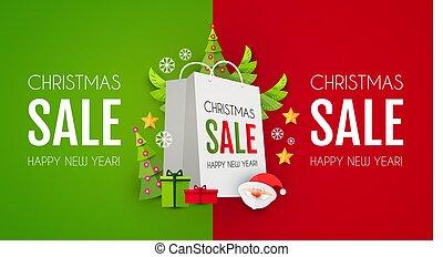 claus, jul, försäljning, söt, shoppingväskan, helgdag, ...