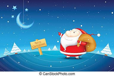 claus, jul, jultomten, natt