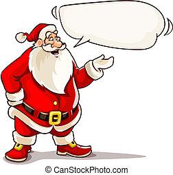 claus, jultomten, cloud., meddelande, jul, talande