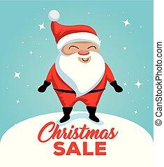 claus, karakter, verkoop, etiket, kerstman, kerstmis