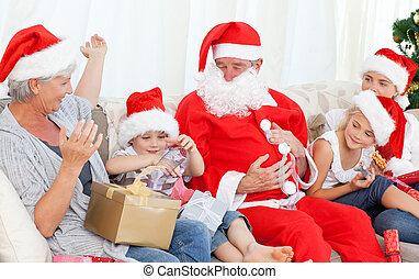 claus, kerstman, gezin, vrolijke