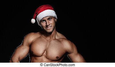 claus, kerstman, hat., verticaal, het glimlachen, mooi, man