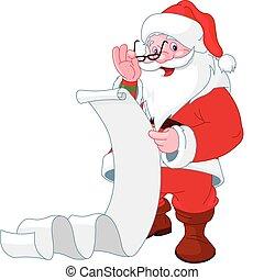 claus, kerstman, lijst, lezende , kadootjes