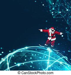 claus, kerstman, vasten, internet