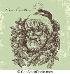 claus, kerstman, verticaal, schets, ouderwetse